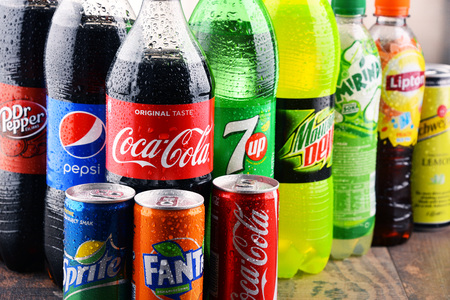 seltzer: POZNAN, POLAND - MAY 19, 2017: Global soft drink market is dominated by brands of few multinational companies founded in North America. Among them are Pepsico, Coca Cola and Dr. Pepper Snapple Group
