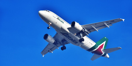 ROME, ITALY - JUNE 14, 2017: Societa Aerea Italiana or Alitalia the flag carrier of Italy with head office in Fiumicino, Rome is the eleventh-largest airline in Europe.