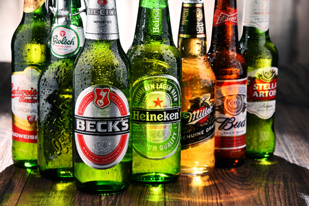 POZNAN, POLAND - JULY 21, 2017: beer is the worlds most widely consumed alcoholic beverage; its global market is largely dominated by brands of several multinational corporations