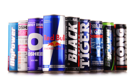 POZNAN, POL - JUL 27, 2017: global market of energy drinks containing stimulant drugs and marketed as providing mental and physical stimulation was worth US$27.5 billion in 2013 Editorial