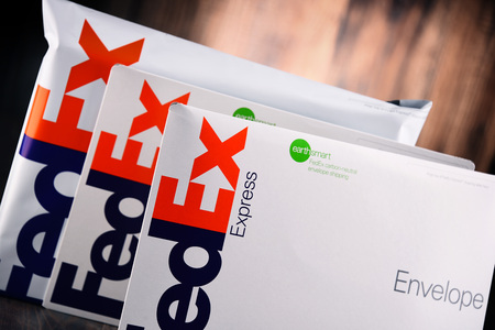 POZNAN, POL - AUG 2, 2017: Envelopes and parcels of FedEx, an American multinational courier delivery services company headquartered in Memphis, Tennessee. Editorial