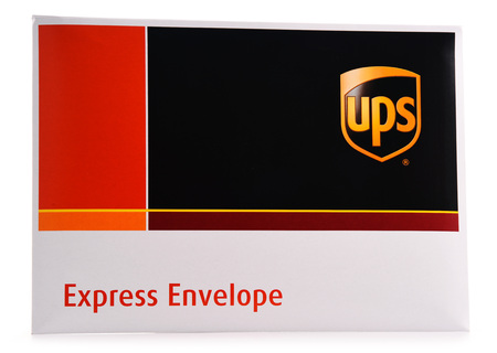 POZNAN, POL - AUG 2, 2017: Envelope of United Parcel Service or UPS, the worlds largest package delivery company shipping over 15 million packages per day in more than 220 countries