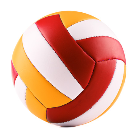 Leder-Volleyball auf einem weißen Hintergrund isoliert. Standard-Bild - 83977443