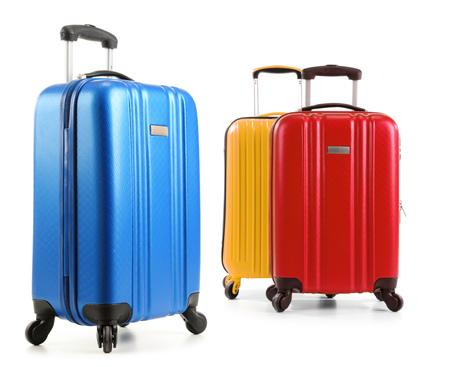 portmanteau: Travel suitcases isolated on white background.