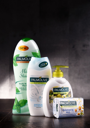 POZNAN, POLAND - AUG 10, 2017: Palmolive is the trademark of a line of products produced by American company Colgate-Palmolive. It was introduced in 1898 and is sold globaly. Editorial