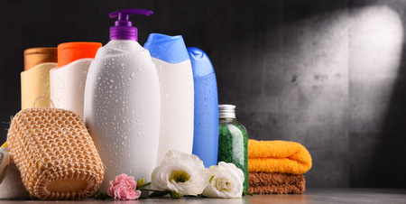 Plastic bottles of body care and beauty products. Stock Photo