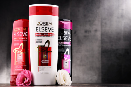 POZNAN, POLAND - AUG 11, 2017: LOreal S.A. is a French cosmetics company headquartered in Clichy, Hauts-de-Seine. It is the worlds largest cosmetics producer.