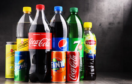 seltzer: POZNAN, POLAND - AUG 18, 2017: Global soft drink market is dominated by brands of few multinational companies founded in North America. Among them are Pepsico, Coca Cola and Dr. Pepper Snapple Group