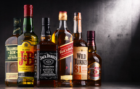 POZNAN, POLAND - AUG 18, 2017: Whiskey is the most popular liquor in the world. Originated probably in Ireland, now it is produced on grand scale also in India, Scotland, USA, Canada and Japan Editorial
