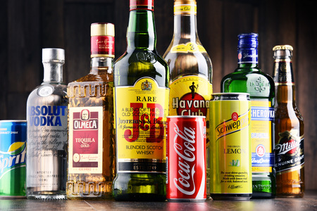 POZNAN, POLAND - MAY 17, 2017: Worldwide some 2 billion people use alcohol, one of the most widely used recreational drugs on earth, with yearly consumption of over 6 liters of pure alcohol per person
