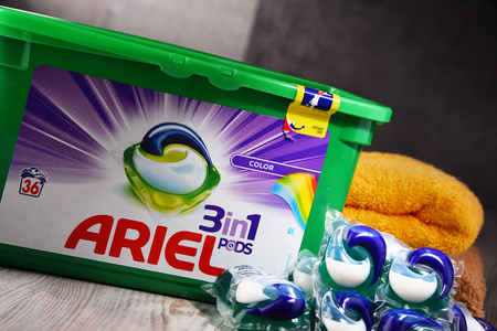 POZNAN, POLAND - OCT 4, 2017: Ariel is a laundry detergent product the flagship brand of Procter & Gamble corporation headquartered in Cincinnati, Ohio, USA.