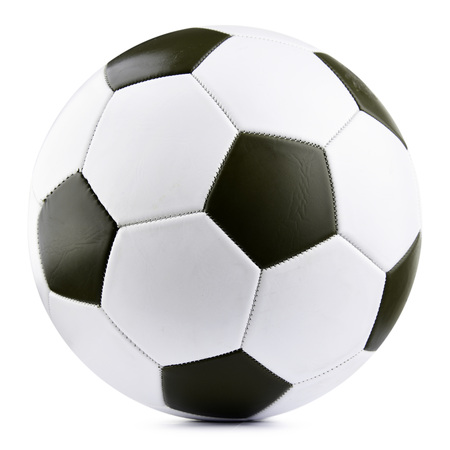 Leather soccer ball isolated on white background. 免版税图像