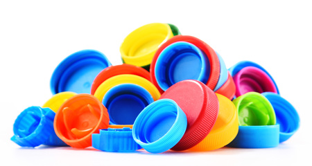 Plastic bottle caps isolated on white background.