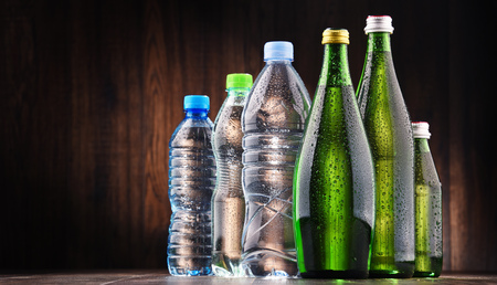 sorts: Composition with different sorts of bottles containing mineral water