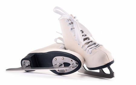 Pair of figure skates isolated on white background.