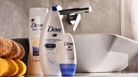 POZNAN, POLEN - NOV 10, 2017: Dove-producten, een merk voor persoonlijke verzorging, eigendom van Unilever en verkocht in meer dan 80 landen