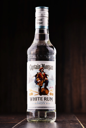 POZNAN, POLAND - NOV 8, 2017: Originated on US Virgin Islands Captain Morgan is a brand of rum produced by Diageo, British multinational alcoholic beverages company headquartered in London