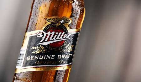 POZNAN, POLAND - DEC 8, 2017: Miller Genuine Draft is the original cold filtered packaged draft beer, a product of the Miller Brewing Company owned by SABMiller 에디토리얼