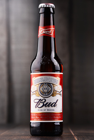 POZNAN, POLAND - DEC 8, 2017: Introduced in St. Louis, Missouri in 1876 , Budweiser is an American-style pale lager produced now by Anheuser-Busch