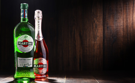POZNAN, POLAND - DEC 7, 2017: Products of Martini, famous Italian vermouth is the world's fourth most powerful alcoholic brand produced in Turin by Martini and Rossi since 1863 Editorial