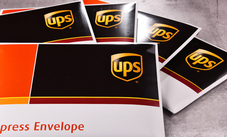 POZNAN, POL - OCT 4, 2017: Envelopes of United Parcel Service or UPS, the worlds largest package delivery company, shipping over 15 million packages per day in more than 220 countries