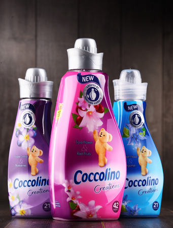 POZNAN, POLAND - DEC 14, 2017: bottles of liquid Coccolino fabric softener owned by Unilever, a British-Dutch transnational consumer goods company.