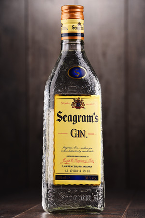 POZNAN, POLAND - DEC 15, 2017: Bottle of Seagrams Gin, the best selling gin in America, produced since 1939.
