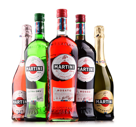 POZNAN, POLAND - DEC 21, 2017: Products of Martini, famous Italian vermouth is the worlds fourth most powerful alcoholic brand produced in Turin by Martini and Rossi since 1863 Editorial