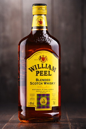 POZNAN, POLAND - DEC 15, 2017: Bottle of William Peel blended Scotch whisky, one of the best-selling whisky brands in the world