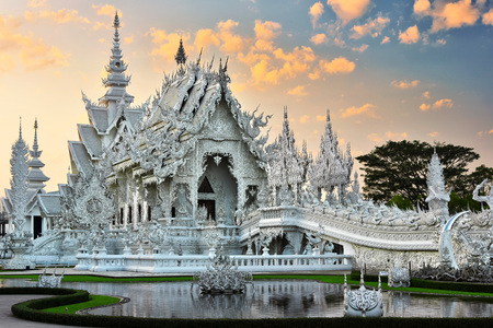 Wat Rong Khun or the White Temple, a Buddhist temple in Chiang Rai, Thailand