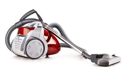 Canister vacuum cleaner for home use isolated on white background