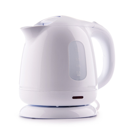 White plastic electric kettle isolated on white.