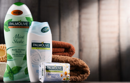 POZNAN, POLAND - DEC 7, 2017: Products of Palmolive, cosmetics trademark manufactured by American company Colgate-Palmolive. It was introduced in 1898 and is sold globaly. Editorial