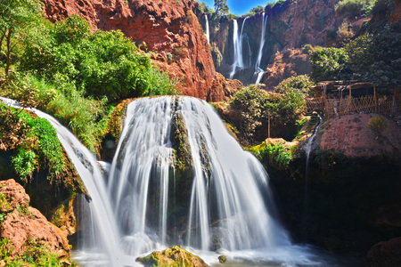 Ouzoud Falls near the Grand Atlas village of Tanaghmeilt, Morocco. Standard-Bild - 97947789