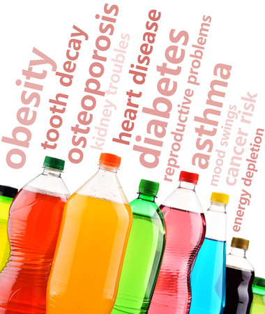 Warning against the dangerous effects of soft drinks on human health Stock Photo