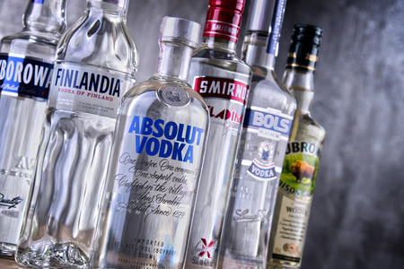 POZNAN, POLAND - MAR 30, 2018: Bottles of several global brands of vodka, the world�s largest internationally traded spirit with the estimated sale of about 500 million nine-liter cases a year. Editorial