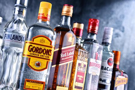 POZNAN, POLAND - MAR 30, 2018: Bottles of assorted global hard liquor brands