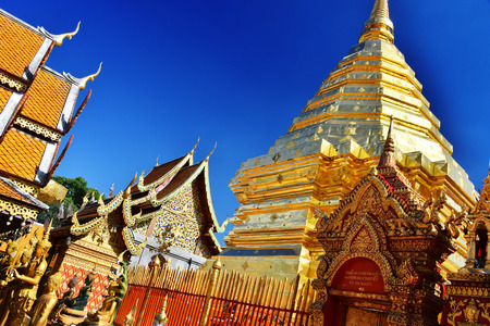 Wat Phra That Doi Suthep, a Buddhist temple in Chiang Mai Province, Thailand Stock Photo