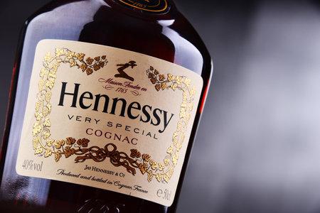 POZNAN, POL - MAY 3, 2018: Bottle of Hennessy, a brand of famous cognac from Cognac, France Redakční