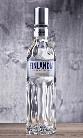 POZNAN, POLAND - MAR 30, 2018: Bottle of Finlandia, a brand of Finnish vodka owned by the Brown-Forman Corporation and distributed in 135 countries.
