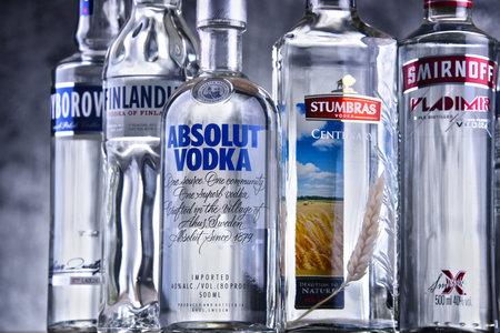 POZNAN, POLAND - MAR 30, 2018: Bottles of several global brands of vodka, the worlds largest internationally traded spirit with the estimated sale of about 500 million nine-liter cases a year. Redakční