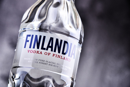 POZNAN, POLAND - MAR 30, 2018: Bottle of Finlandia, a brand of Finnish vodka owned by the Brown-Forman Corporation and distributed in 135 countries. Editorial