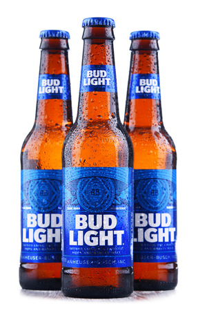 POZNAN, POL - MAY 3, 2018: Bottles of Bud Light beer, an American light beer, produced by Anheuser-Busch, introduced in 1982. Editorial