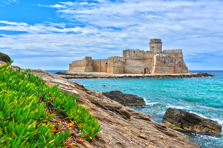 The castle in the Isola di Capo Rizzuto in the Province of Crotone, Calabria, Italy.