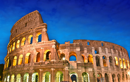 The Colosseum or Coliseum also known as Flavian Amphitheatre in the city of Rome, Italy. Stock Photo