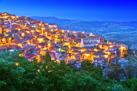The village of Staiti in the Province of Reggio Calabria, Italy after sunset