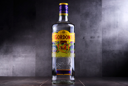 POZNAN, POL - MAY 3, 2018: Gordons is a brand of the worlds best selling London Dry gin. It is owned by the British spirits company Diageo. Editorial