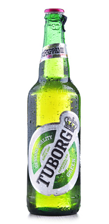 POZNAN, POL - JUN 8, 2018: Bottle of Tuborg beer, produced by a Danish brewing company founded in 1873 near Copenhagen