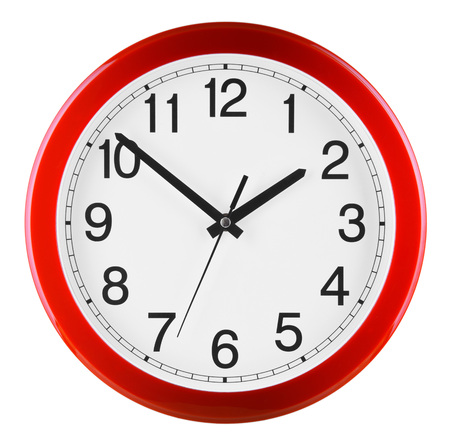 Wall clock isolated on white background. Ten to two. Stock Photo