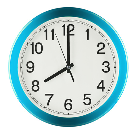 Wall clock isolated on white background. Eight oclock. Banco de Imagens